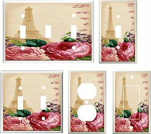 EIFFEL TOWER PARIS  ROSES  LIGHT SWITCH COVER PLATE  K2