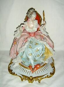 beautiful h painted capodimonte seated lady