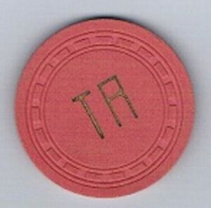 Unidentified T R Poker Casino Chip Rectangle Mold Pink Vintage $15.00