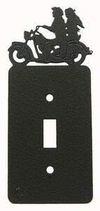 Motorcycle Man Woman Single Switch Plate Black