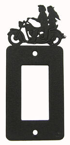 Motorcycle Man Woman Single Rocker Plate Black