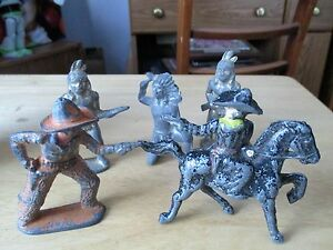 5 five vintage toy soldiers barclay cowboy s