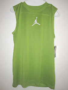 NWT Boys Air Jordan Dri-Fit Sheer Green Sleeveless Shirt Size Large  (12-13 yrs)