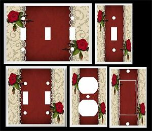 RED ROSES AND LACE LIGHT SWITCH COVER PLATE   HOME DECOR U PICK  SIZE