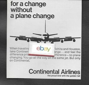 CONTINENTAL AIRLINES 1967 FOR A CHANGE WITHOUT A PLANE CHANGE SEATTLE WICHITA AD