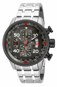 Invicta 17204 Men's Aviator Chronograph Gunmetal Dial Steel Bracelet Watch