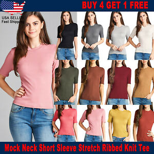 New Women Ribbed Knit Fashion Summer Mock Neck Short Sleeve Stretch T Shirt Top $7.19