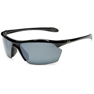 Under Armour UA Zone XL Shiny Black Frame Gray Polarized Mirror Lens Sunglasses