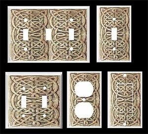 IMAGE OF CRAVED CELTIC KNOTS BROWN TONES #2  LIGHT SWITCH COVER PLATE