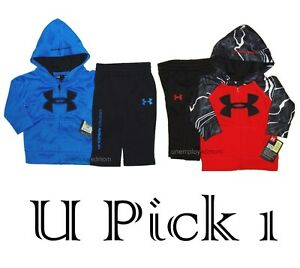 Under Armour Boys Hoody Set Jacket Pants Zip up Hoodie Big UA Logo Outfit 2 pc