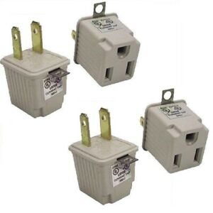 FOUR Pack 3 Prong Plug To 2 Prong Socket Outlet Adapters 3-2