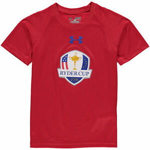 2016 Ryder Cup Under Armour Youth Tech Performance T-Shirt - Red - Golf