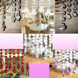 10Pcs Acrylic Crystal Beads Garland Chandelier Hanging Wedding Party Home Decor