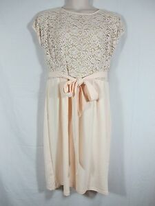 Melissa Masse Lace Bodice Dress Pink Champagne Short Sleeve Tie Waist Plus 2X