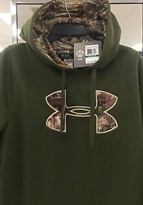New $70 Under Armour Men's Hoodie Hooded Sweatshirt M L XL TALL Loose Green Camo