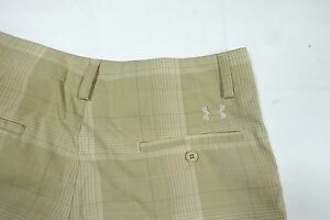 UNDER ARMOUR GOLF LOOSE Stretch Flat Front PLAID KHAKI Shorts MENS 34 TECH MICRO