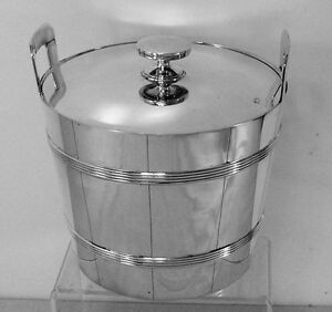 Tiffany Sterling Silver Single Ice Bucket with Handles Cover and Insert No Mono