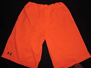 Under Armour Golf Shorts Neon Orange Medal Play YXL Youth XL Long Loose Athletic
