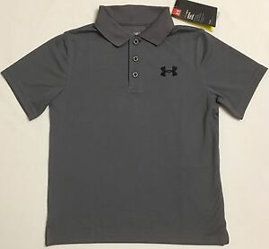 NWT youth Boys' YLG large UNDER ARMOUR knit POLO heatgear GOLF shirt Gray