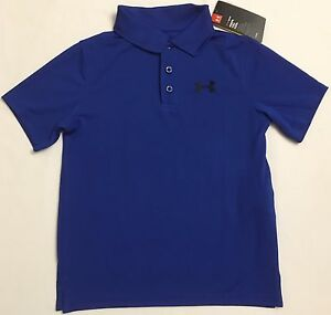 NWT youth Boys' YMD medium UNDER ARMOUR knit POLO heatgear GOLF shirt Blue