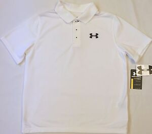 NWT youth Boys' YXL X-large UNDER ARMOUR knit POLO heatgear GOLF shirt White UA