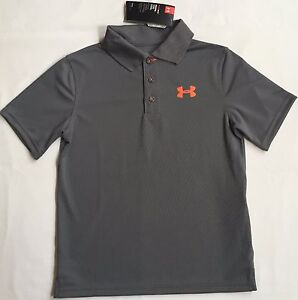 NWT youth Boys' YLG large UNDER ARMOUR knit POLO heatgear GOLF shirt GRAY UPF30