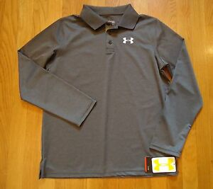 NWT UNDER ARMOUR GOLF POLO SHIRT CARBON HEATHER GRAY LOOSE FIT BOYS XLARGE YXL