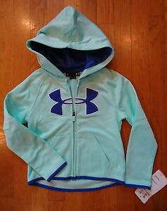 NWT UNDER ARMOUR BIG LOGO FULL ZIP HOODIE VENEER GIRLS YOUTH SIZE 4 5 6