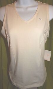 NWT NIKE FIT DRY Stretch Fit Ivory Sleeveless Tank Shirt Women's Medium 810
