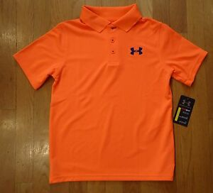 NWT UNDER ARMOUR GOLF POLO SHIRT BLAZE ORANGE LOOSE FIT BOYS MEDIUM