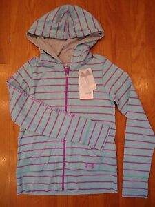 NWT UNDER ARMOUR TRI-BLEND FULL ZIP HOODIE JACKET BLUE GIRLS MEDIUM