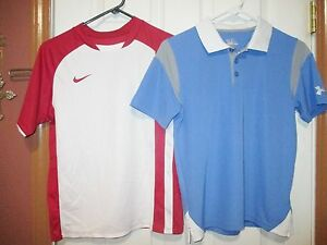 LOT OF TWO Boys UNDER ARMOUR Athletic Shirt Top Nike Fit Dry YOUTH MEDIUM