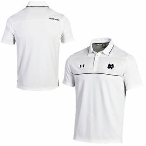 Notre Dame Fighting Irish Under Armour Win It Staff Polo - White - NCAA