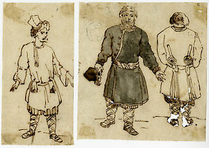 2 Antique Drawings-SLAVIC-NORTH EUROPE-HISTORIC COSTUME-Anonymous-age unclear