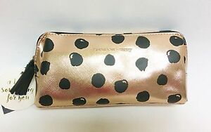 TENDER LOVECARRY METALLIC ROSE GOLDBLACK POLKA DOTS PVCCASECOSMETICPOUCH