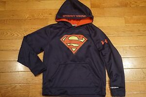 UNDER ARMOUR Boys Fleece Storm Hoodie Superman Size YMD M 1249057 Loose Fit