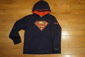 UNDER ARMOUR Boys Fleece Storm Hoodie Superman Size YLG L 1249057 Loose Fit