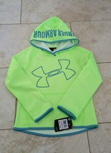 New Under Armour Kids Girls Neon Green Fleece Sweatshirt Hoodie Size: 6