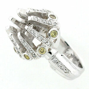 14k White Gold Semi Mount White and Fancy Yellow Diamond Ring Setting 0.77 CTS