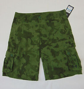 NWT UNDER ARMOUR Camo Green Cargo Ripstop Youth Boys Golf Shorts XL