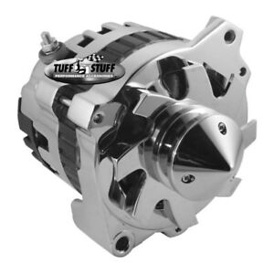 Tuff Stuff Alternator 7866BBULL; CS130 160 Amp Polished w V Bullet Nose Pulley