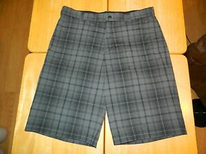 Men's Nike Golf Tech Tour Performance Dri-Fit Plaid Shorts 33 Black  Dark Grey