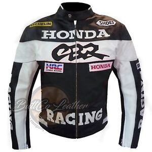 New HONDA CBR Hand Made Black Leather Motorcycle Racing Motorbike Biker Jacket