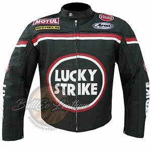 Lucky Strike 0113 Black Motorcycle Motorbike Biker Racing Leather Armour Jacket