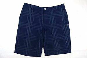 UNDER ARMOUR GOLF BLUE Stretch Flat Front PLAID Shorts MENS 34 TECH 20