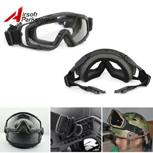 Tactical Paintball Ballistic Goggle Glasses w 2* Lens for Helmet with Side Rail