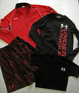UNDER ARMOUR Boys Lot Fitness Shorts Shirts Jacket Black Red Set of 4 Items YMD