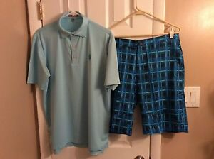 Men's Lot of 2 OAKLEY 34 Waist Plaid Shorts & Peter Millar Medium Shirt