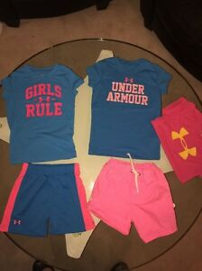 Toddler Girls 4T Under Armour Mesh Shorts T Shirts Lot Carters