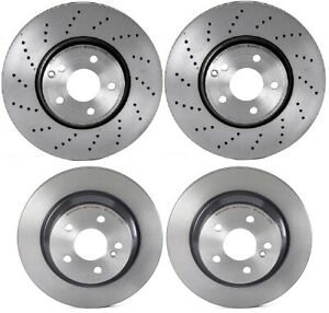 For Mercedes CLS400 15-16 Front Drilled & Rear Vented Brake Rotors Kit Brembo